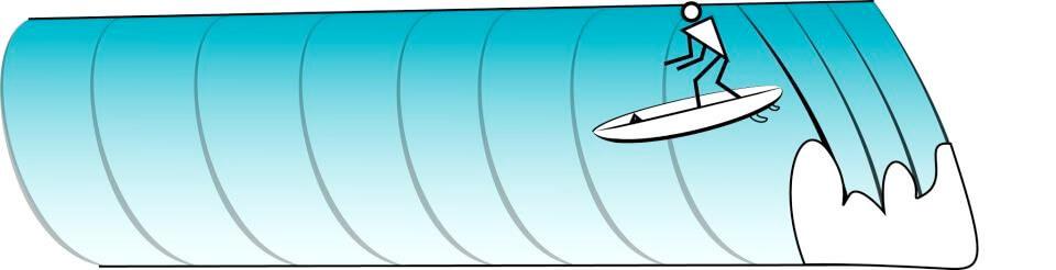 Position auf der Welle kurzes Surfboard